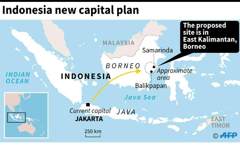 Map of Indonesia showing approximate area of the proposed site of the country's new capital