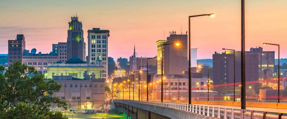 Youngstown, Ohio, USA downtown skyline at twilight.