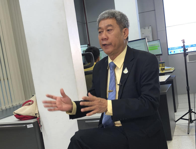 In this May 21, 2019, photo, Adisorn Promthep, director-general of Thailand's Department of Fisheries, speaks during a press briefing on the region's illegal fishing. State-of-the-art surveillance centers in the Asia-Pacific region help to enforce the Port State Measures Agreement, which aims to help curb illegal, unreported and unregulated, or IUU, fishing. UN officials are urging more governments to join the agreement to help combat IUU fishing, which costs world fisheries more than $20 billion a year. (AP Photo/Elaine Kurtenbach)