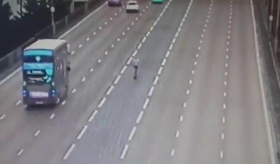 A screengrab of video showing the male heading along the centre contraflow lane of the A38M, last weekend. (CMPG/PA)