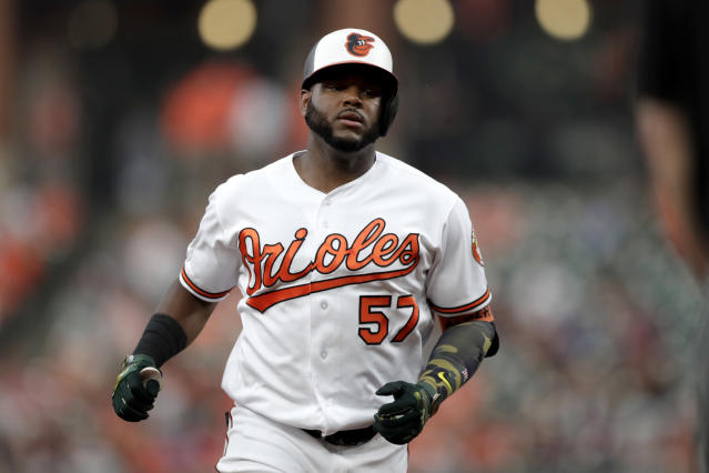 Baltimore Orioles' Hanser Alberto runs the bases after hitting a solo home run off Washington Nationals starting pitcher Austin Voth during the second inning of a baseball game, Tuesday, July 16, 2019, in Baltimore. (AP Photo/Julio Cortez)