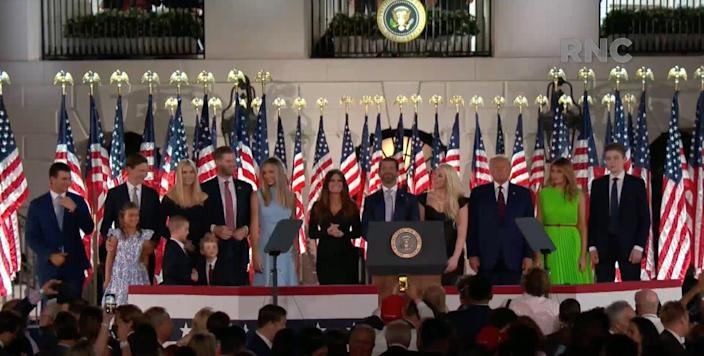 President Donald Trump stands with family members after speaking during the Republican National Convention at the White House in Washington, D.C.
