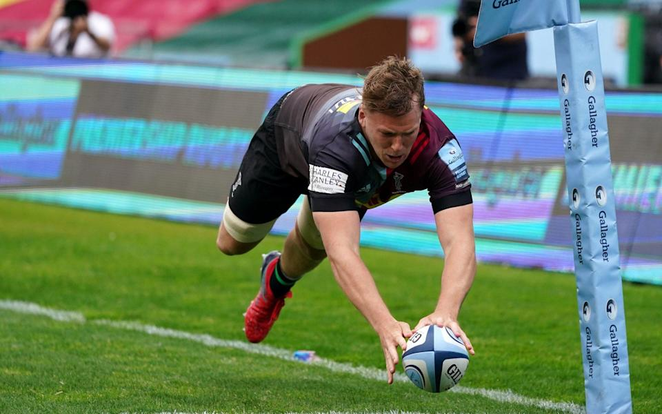 Harlequins' Alex Dombrandt scores their side's fifth try of the game during the Gallagher Premiership match at Twickenham Stoop, London. - PA
