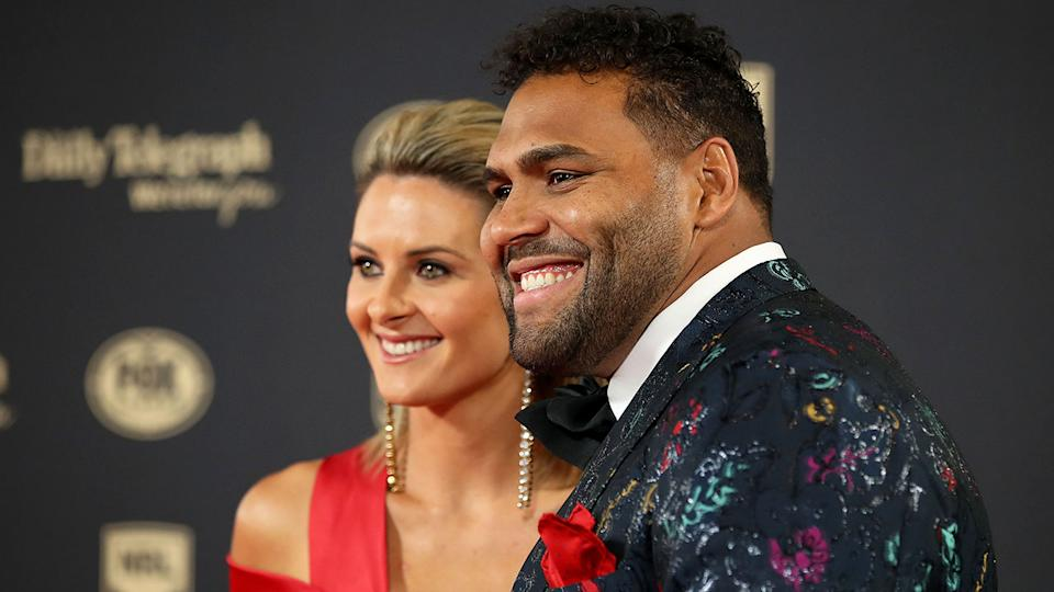 Sam Thaiday is pictured here with his wife Rachel in 2018.