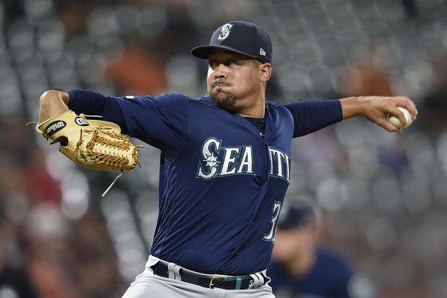 Seattle Mariners pitcher Justus Sheffield throws against the Baltimore Orioles in the first inning of a baseball game, Saturday, Sept. 21, 2019, in Baltimore. (AP Photo/Gail Burton)