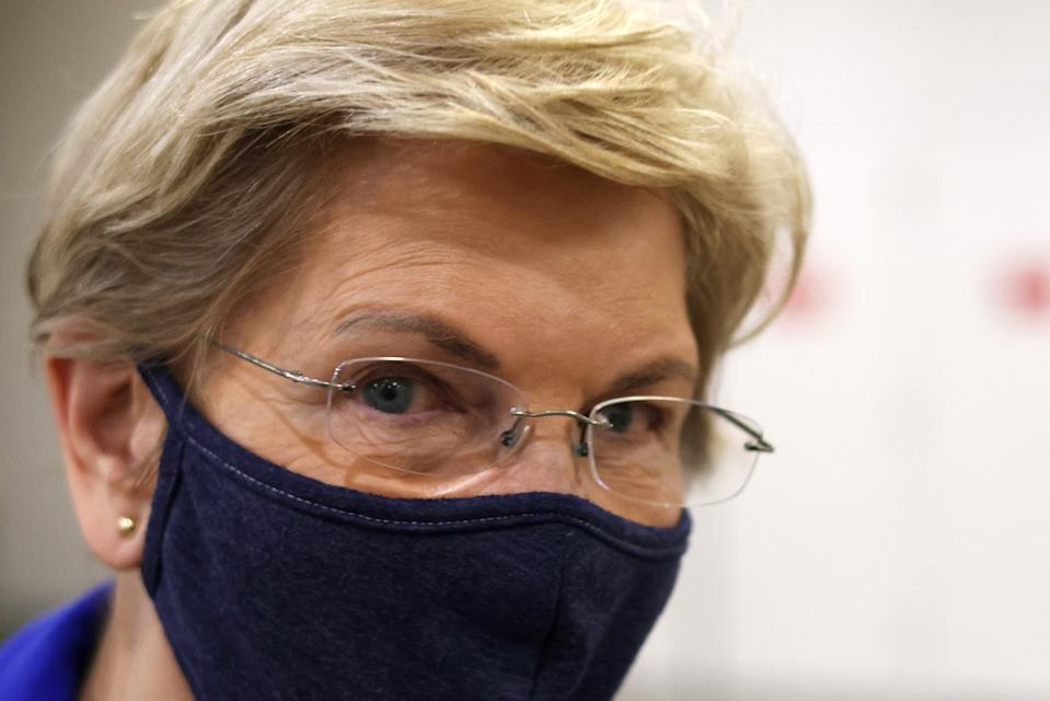 WASHINGTON, DC - APRIL 12: U.S. Sen. Elizabeth Warren (D-MA) arrives for a procedural vote on the nomination of Polly Ellen Trottenberg to be Deputy Secretary of Transportation at the U.S. Capitol April 12, 2021 in Washington, DC. The Senate has returned after a two-week Easter break. (Photo by Alex Wong/Getty Images)