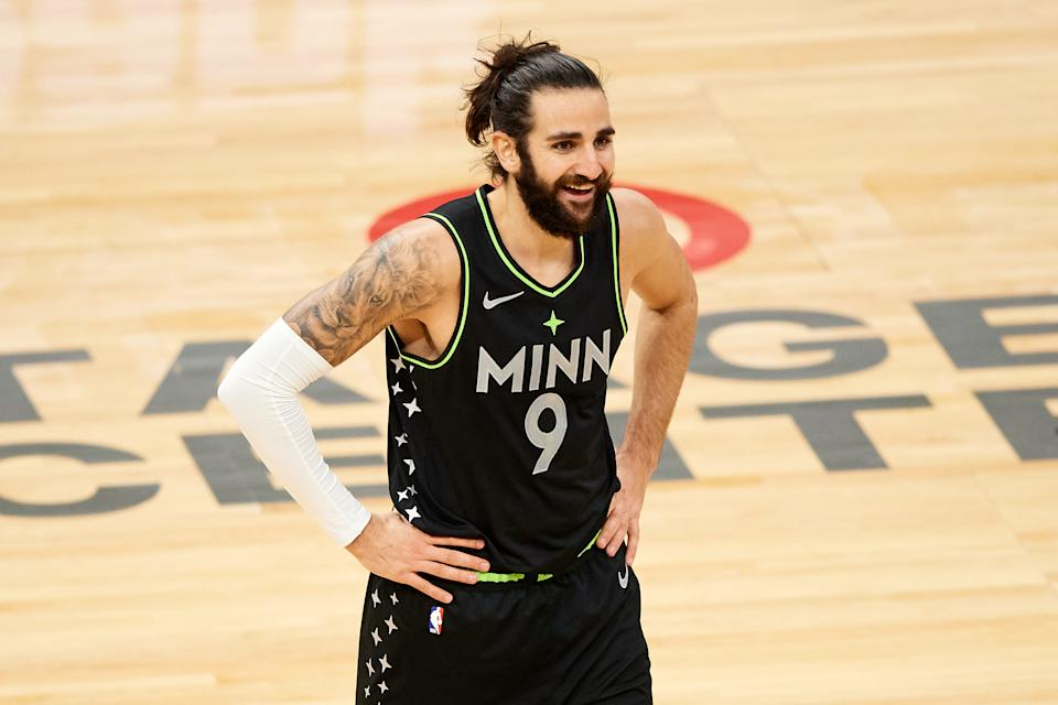 MINNEAPOLIS, MINNESOTA - FEBRUARY 19: Ricky Rubio #9 of the Minnesota Timberwolves reacts to a call during the second quarter of the game against the Toronto Raptors at Target Center on February 19, 2021 in Minneapolis, Minnesota. NOTE TO USER: User expressly acknowledges and agrees that, by downloading and or using this Photograph, user is consenting to the terms and conditions of the Getty Images License Agreement (Photo by Hannah Foslien/Getty Images)