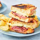 """<p>This <a href=""""https://www.delish.com/uk/cooking/recipes/a29649693/ham-cheese-brunch-bake-recipe/"""" rel=""""nofollow noopener"""" target=""""_blank"""" data-ylk=""""slk:ham"""" class=""""link rapid-noclick-resp"""">ham</a> sandwich is great for many reasons. It's got a beautiful golden crust (thanks mayo!), a quick and simple honey mustard sauce, and briny pickles for crunch. </p><p>Get the <a href=""""https://www.delish.com/uk/cooking/recipes/a31388363/ham-and-cheese-sandwich-recipe/"""" rel=""""nofollow noopener"""" target=""""_blank"""" data-ylk=""""slk:Ham & Cheese Sandwich"""" class=""""link rapid-noclick-resp"""">Ham & Cheese Sandwich</a> recipe.</p>"""