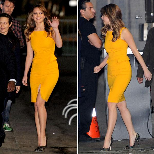 <b>Jennifer Lawrence </b><br><br>The Silver Linings Playbook actress looked radiant in a mango yellow Emilio Pucci Resort 2013 dress at Jimmy Kimmel Live in New York.<br><br>Image © Splash
