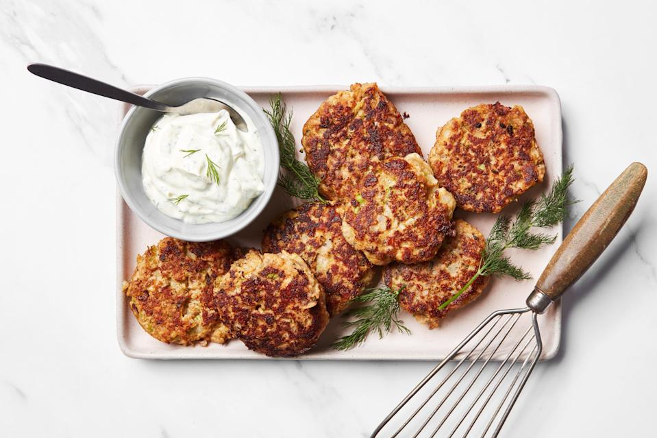 """Delicious? Check. Easy? Definitely. Budget friendly? That, too. These crispy salmon cakes are among the best pantry-focused meals around—and they're so tasty that we've been known to <a href=""""https://www.epicurious.com/recipes-menus/easy-crispy-salmon-cakes-budget-recipe-article?mbid=synd_yahoo_rss"""" rel=""""nofollow noopener"""" target=""""_blank"""" data-ylk=""""slk:eat them for lunch and dinner in the same day"""" class=""""link rapid-noclick-resp"""">eat them for lunch and dinner in the same day</a>. <a href=""""https://www.epicurious.com/recipes/food/views/salmon-croquettes-dill-sauce?mbid=synd_yahoo_rss"""" rel=""""nofollow noopener"""" target=""""_blank"""" data-ylk=""""slk:See recipe."""" class=""""link rapid-noclick-resp"""">See recipe.</a>"""