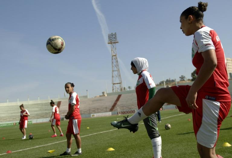 Afak Relizane's players attend a training session in the Algerian city of Relizane
