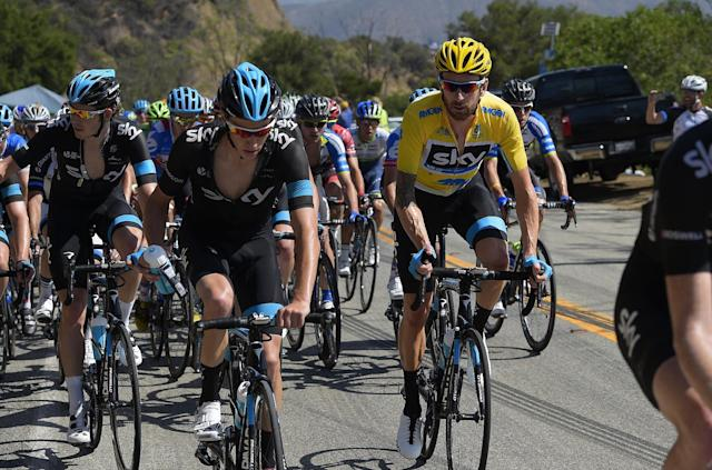 Bradley Wiggins, second from right, of Great Britain, rides with teammates during the final stage of the Tour of California cycling race, Sunday, May 18, 2014, in Thousand Oaks, Calif. Wiggins won the overall race. (AP Photo/Mark J. Terrill)