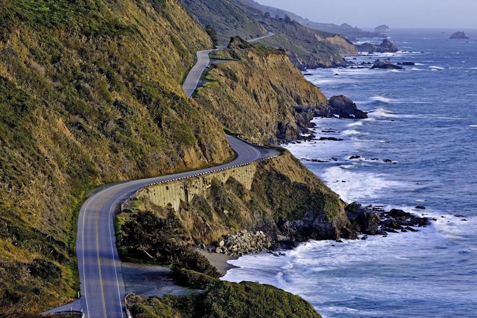 """<p>From Monterey to Big Sur along California's coast, this <a href=""""https://www.visittheusa.com/trip/pacific-coast-highway-road-trip"""" rel=""""nofollow noopener"""" target=""""_blank"""" data-ylk=""""slk:30-mile stretch of Highway 1"""" class=""""link rapid-noclick-resp"""">30-mile stretch of Highway 1</a> is one of the country's best road trips for sparkling views of the ocean and cliffs.</p>"""