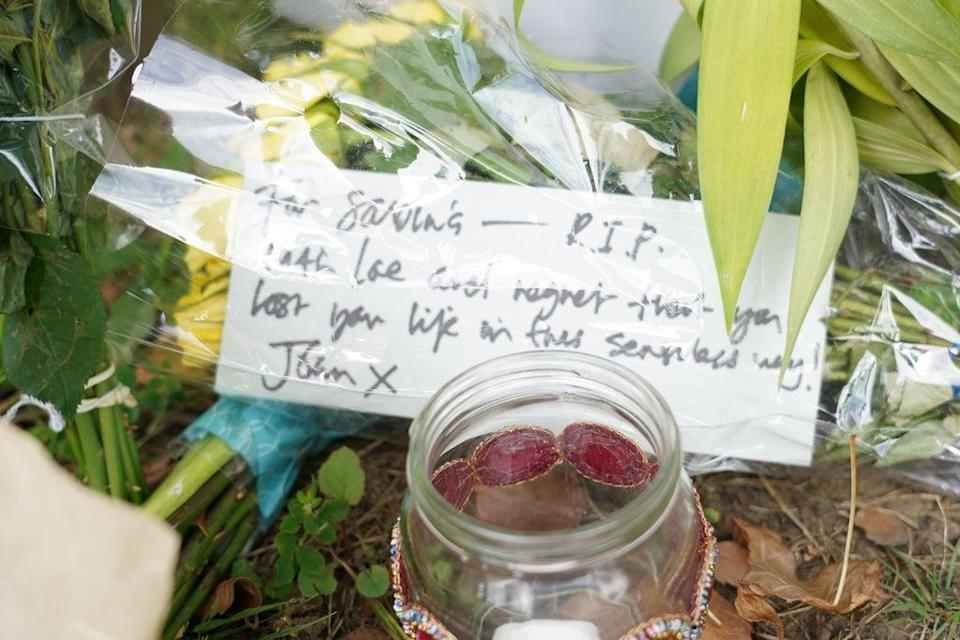 Tributes have been left at the scene of Sabina Nessa's murder (PA) (PA Wire)