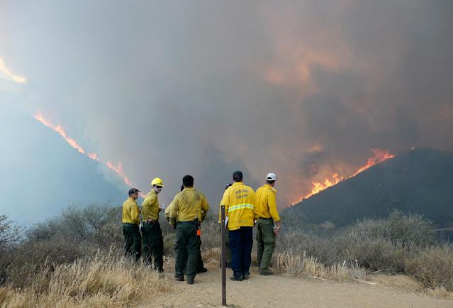 NEWBURY PARK, CA - MAY 03: Firefighters look on as wildfire charges back up from Sycamore Canyon inside Pt. Mugu State Park caused by changing winds on May 3, 2013 in Newbury Park, California. Hundreds of firefighters are battling wind and dry conditions with over 10,000 acres already burned. (Photo by Kevork Djansezian/Getty Images)
