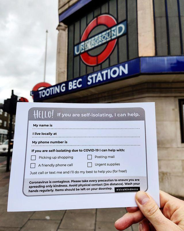 "<p>There have been various versions of people sharing notes and leaflets advertising their help with shopping and more to those who may be unable to get out of the house to fetch supplies. </p><p>This local Instagram account for Tooting in south west London shows the kind of help people are offering, while also bearing in mind the social distancing measures.</p><p>These cards were created by a Cornish resident who told the <a href=""https://www.bbc.co.uk/news/uk-england-cornwall-51880695"" rel=""nofollow noopener"" target=""_blank"" data-ylk=""slk:BBC"" class=""link rapid-noclick-resp"">BBC</a> she had found the response to her campaign 'incredibly heartwarming'. </p><p><a href=""https://www.instagram.com/p/B9v9L9XF09o/"" rel=""nofollow noopener"" target=""_blank"" data-ylk=""slk:See the original post on Instagram"" class=""link rapid-noclick-resp"">See the original post on Instagram</a></p>"