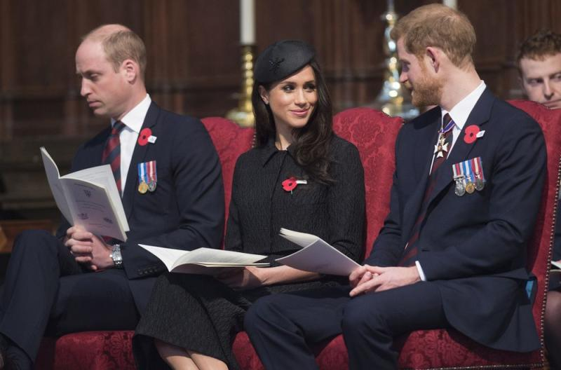Prince William, Meghan Markle and Prince Harry attend an Anzac Day service in 2018 | Eddie Mulholland - WPA Pool/Getty Images)