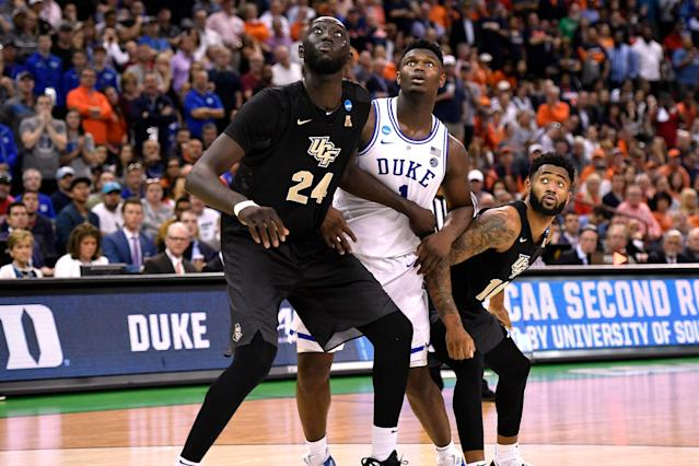COLUMBIA, SC – MARCH 24: Tacko Fall #24 of the Central Florida Knights boxes out against Zion Williamson #1 of the Duke Blue Devils in the second half during the second round of the 2019 NCAA Men's Basketball Tournament at Colonial Life Arena on March 24, 2019 in Columbia, South Carolina. (Photo by Lance King/Getty Images)
