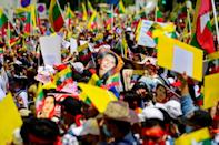 Myanmar migrants in Thailand also protested against the military coup in their home country in Bangkok on Sunday