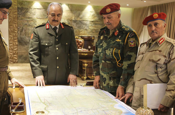 Khalifa Hafter, second from left, with other members of the LNA.