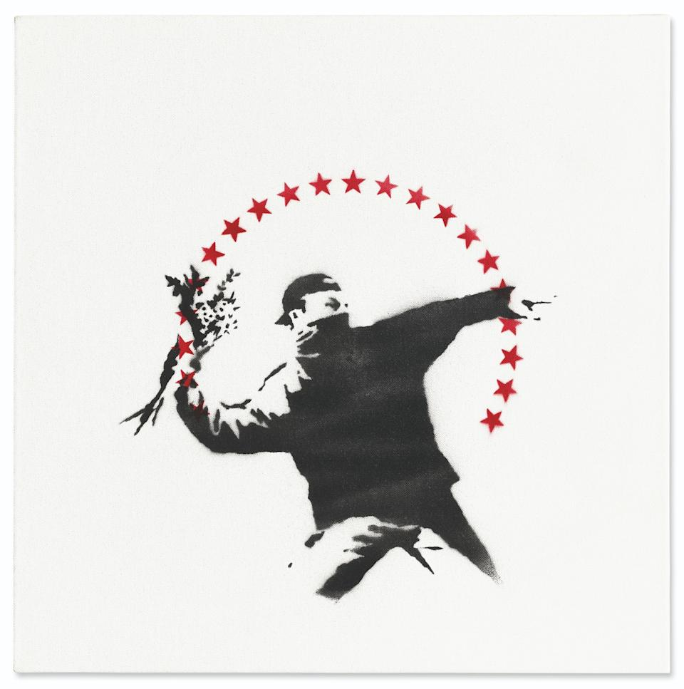 Banksy's Love is in the Air (with Stars) did not sell at Christie's