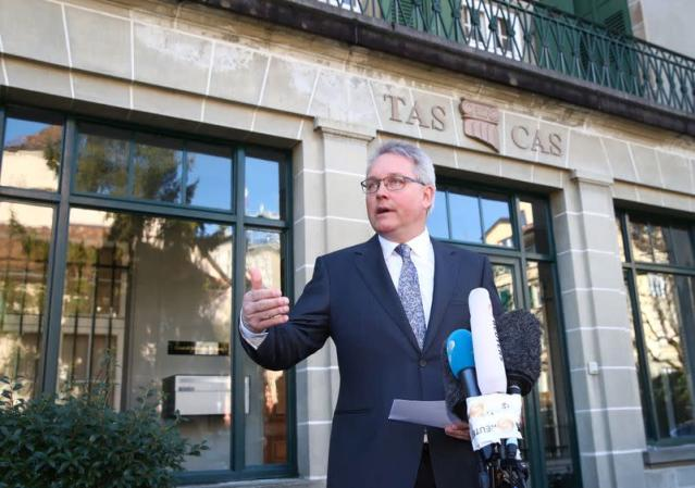 Reeb Secretary General of CAS announces the decision in the arbitration procedure between the WADA versus Sun and FINA in Lausanne