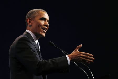 U.S. President Barack Obama speaks at a news conference at the end of the G20 summit in Brisbane