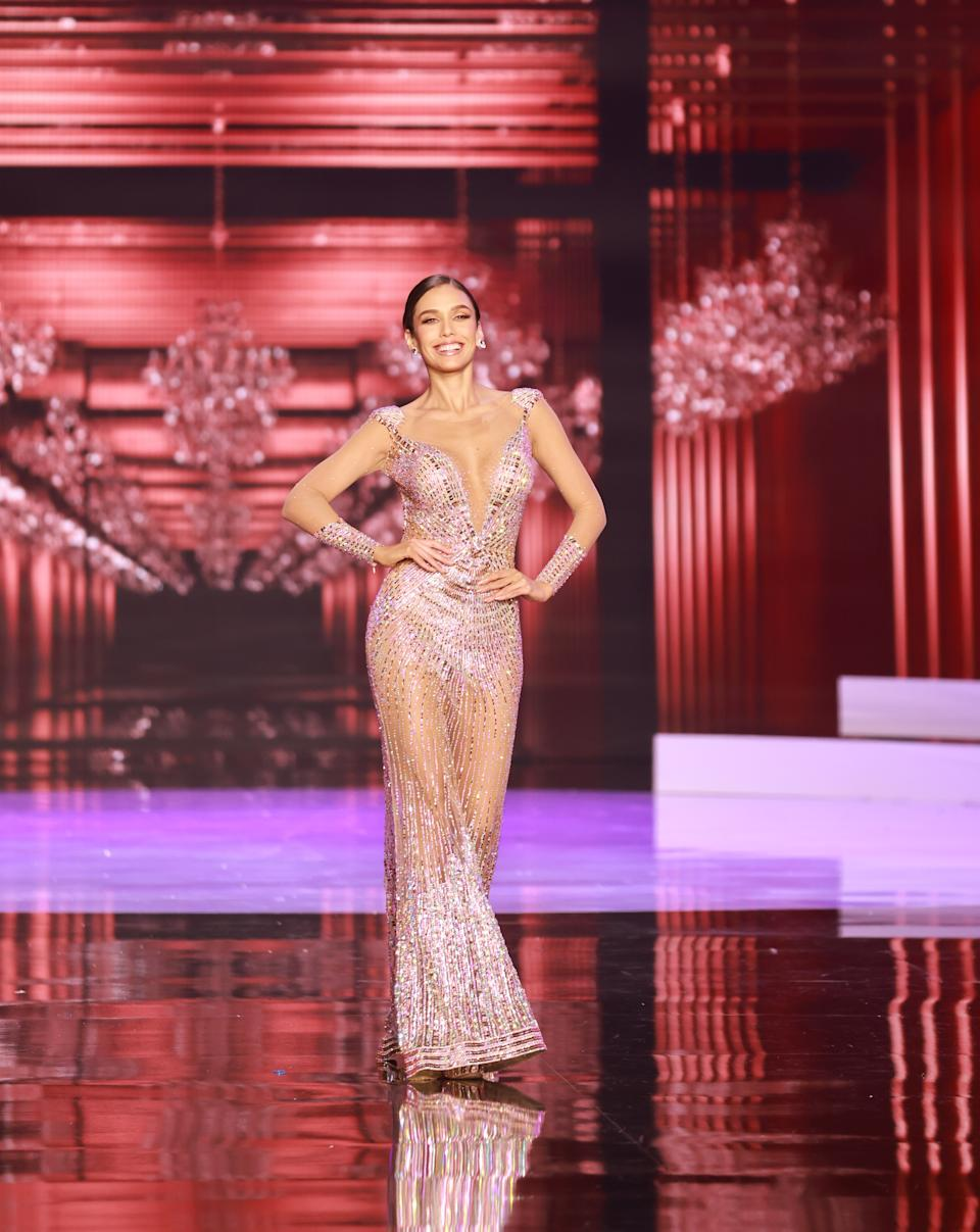 <p>Janick Maceta Del Castillo, Miss Universe Peru 2020 competes on stage as a Top 10 finalist in an evening gown of her choice during the 69th Miss Universe Competition on May 16, 2021 at the Seminole Hard Rock Hotel & Casino in Hollywood, Florida airing LIVE on FYI and Telemundo. Contestants from around the globe have spent the last few weeks touring, filming, rehearsing and preparing to compete for the Miss Universe crown. (PHOTO: Miss Universe)</p>