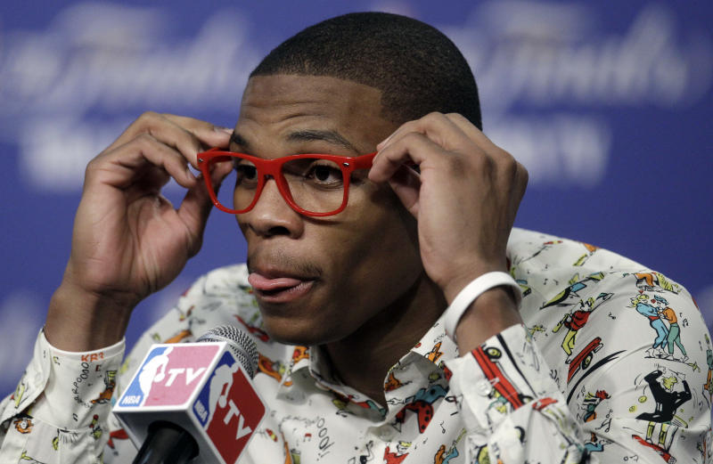 Oklahoma City Thunder point guard Russell Westbrook participates in a news conference after Game 1 of the NBA finals basketball series against the Miami Heat, Tuesday, June 12, 2012, in Oklahoma City. The Thunder won 105-94. (AP Photo/Sue Ogrocki)