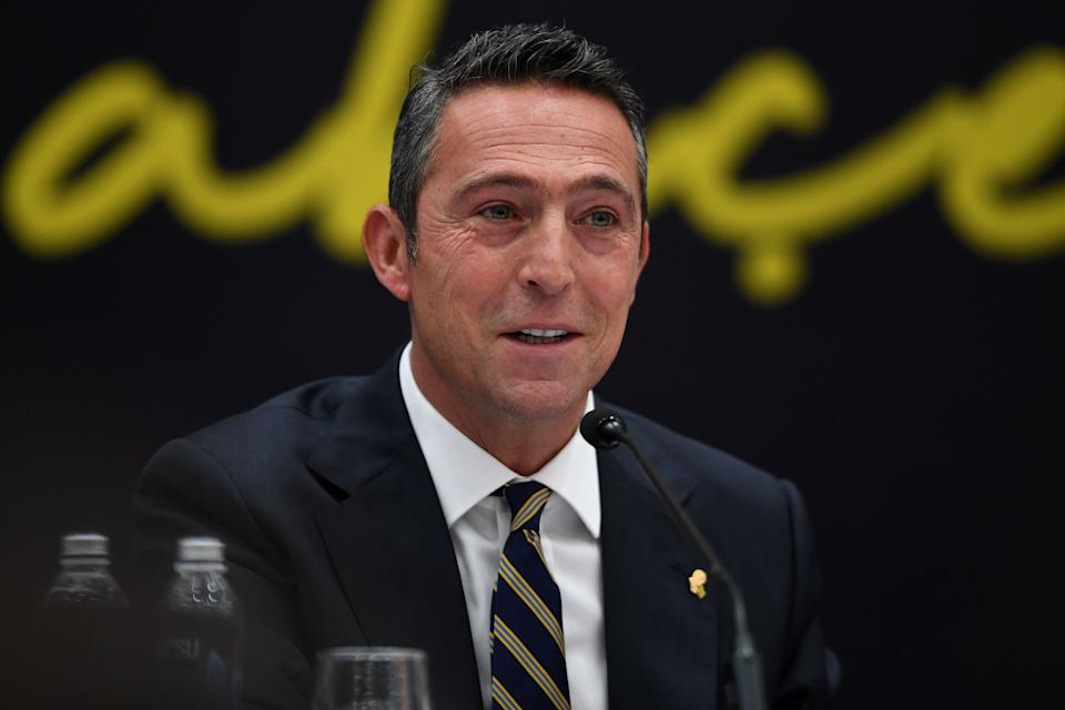 Fenerbahce's president Ali Koc attends Mesut Ozil's signing ceremony at the Divan Faruk Ilgaz facilities on January 27, 2021 in Istanbul. - Ozil joins Fenerbahce on a three-and-a-half year deal after last playing for the Gunners in March, both clubs announced on January 24. (Photo by Ozan KOSE / AFP) (Photo by OZAN KOSE/AFP via Getty Images)