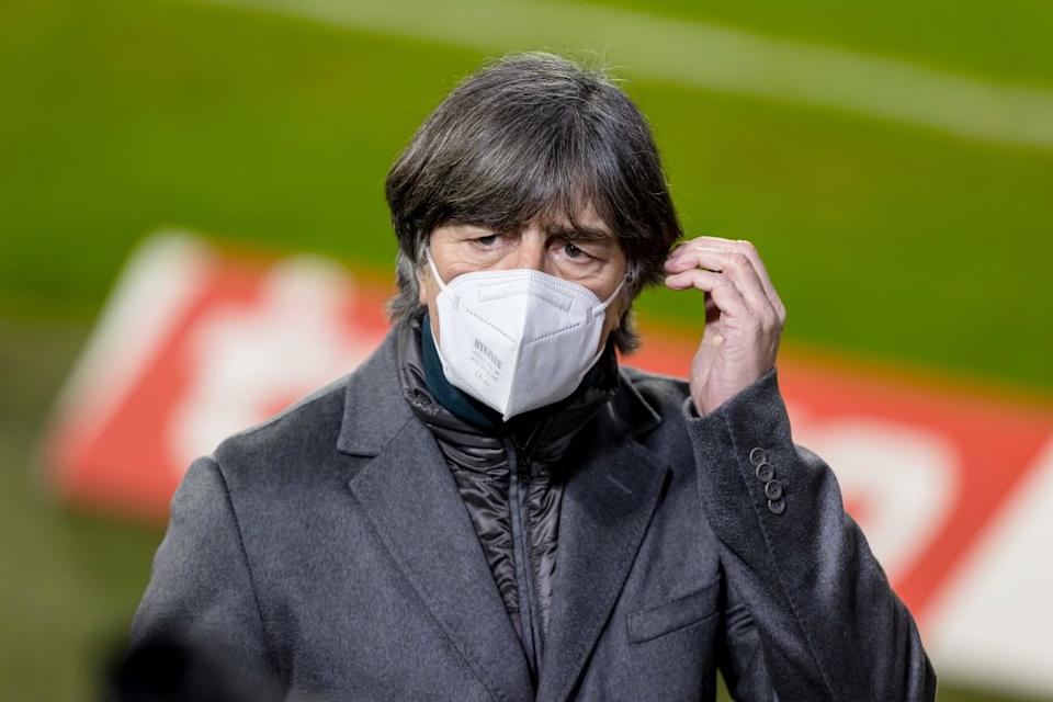 MUNICH, GERMANY - MARCH 06: (BILD ZEITUNG OUT) Joachim Loew looks on during the Bundesliga match between FC Bayern Muenchen and Borussia Dortmund at Allianz Arena on March 6, 2021 in Munich, Germany. (Photo by Roland Krivec/DeFodi Images via Getty Images)