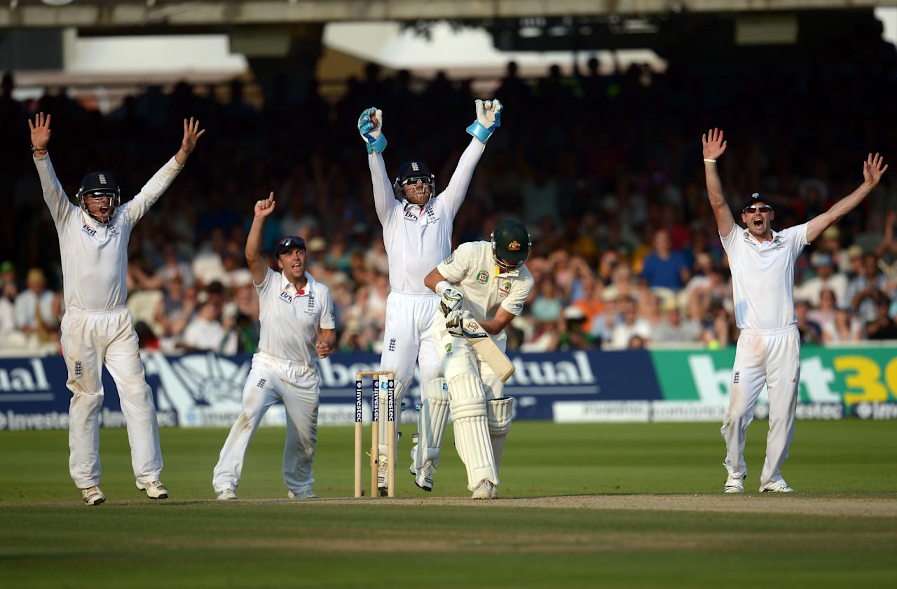 England's (left to right) Ian Bell, Jonathan Trott, Matt Prior and James Anderson celebrate the wicket of Australia's James Patterson LBW bowled by Graeme Swann on day four of the Second Investec Ashes Test at Lord's Cricket Ground, London.