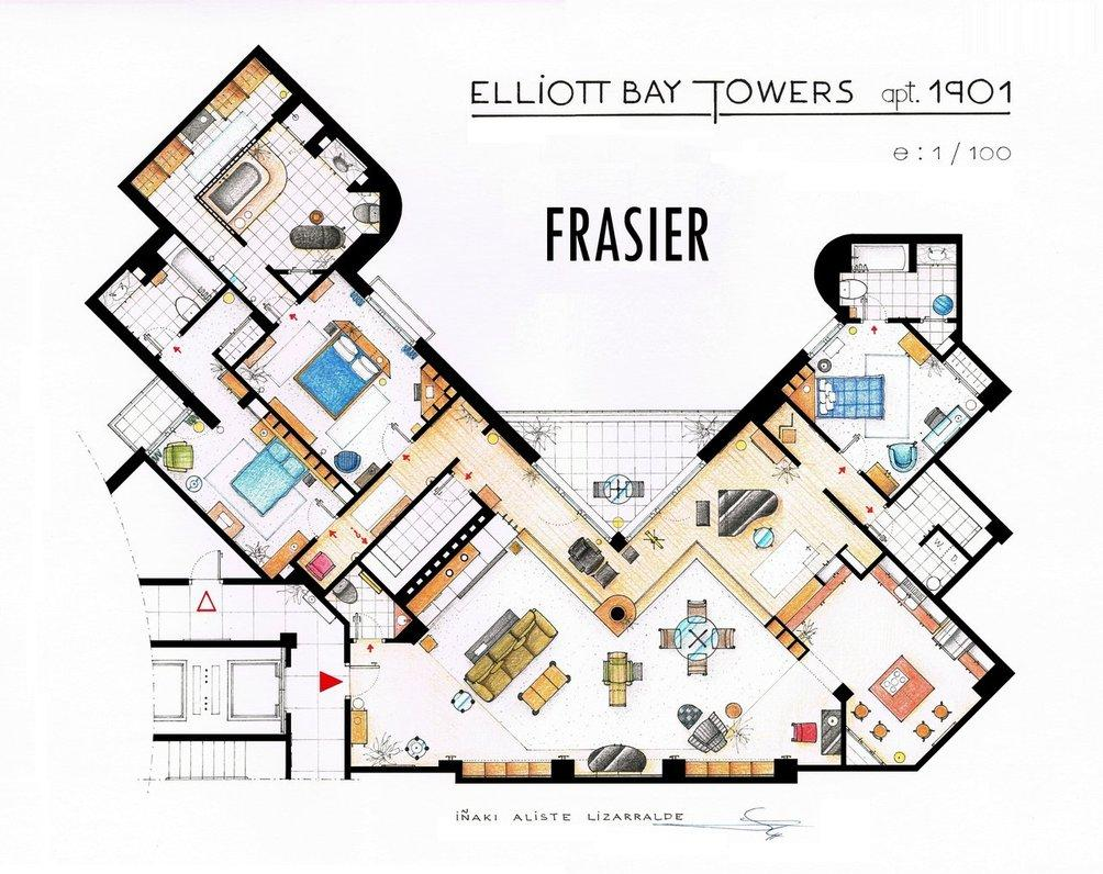 "'Fraiser' The floor plan project started four or five years ado, Iñaki Aliste Lizarralde told ABCNews.com. An avid ""Fraiser"" viewer, the artist decided to make his first television floor plan for fun and it snowballed from there."