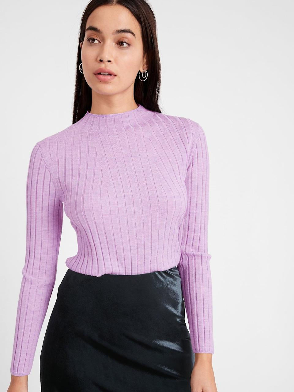 <p>This <span>Banana Republic Merino Ribbed Sweater in Responsible Wool</span> ($23, originally $80) comes in so many colors like this really beautiful lilac! You'll be hard-pressed to find a better deal for a responsibly sourced sweater than this sale price.</p>