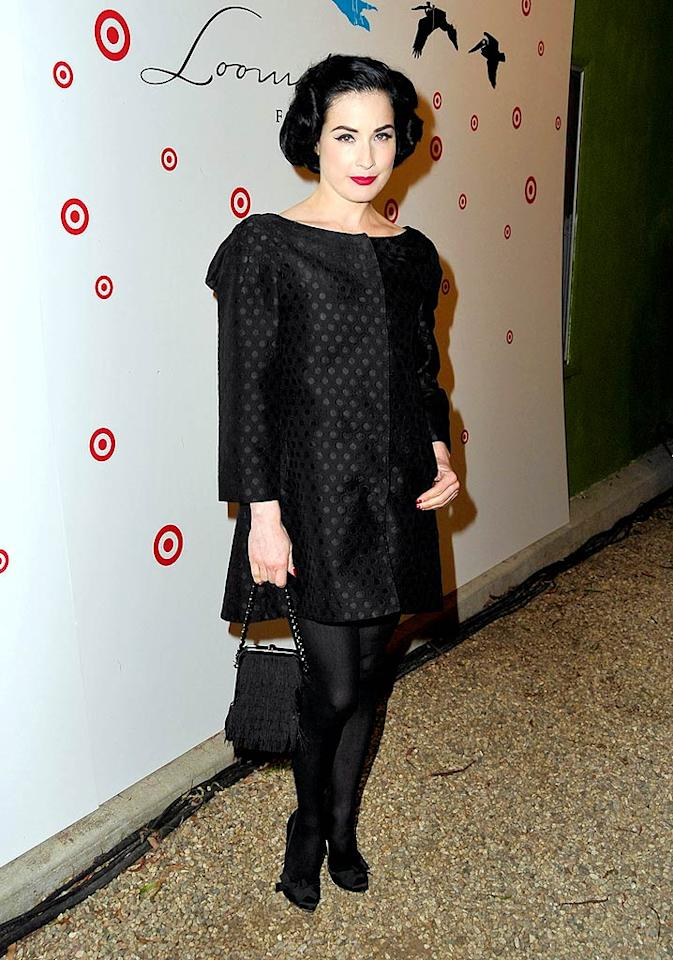 "Fashionista Dita Von Teese at a casual clothing line opening? What is the world coming to? Jordan Strauss/<a href=""http://www.wireimage.com"" target=""new"">WireImage.com</a> - April 14, 2009"