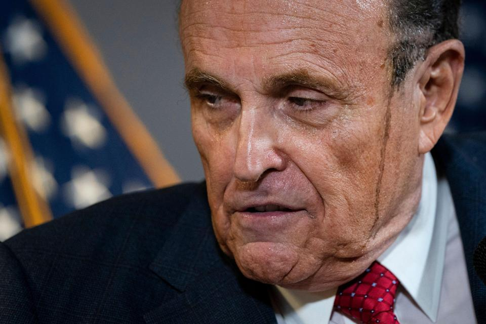 Rudy Giuliani speaks to the press about various lawsuits related to the 2020 election at the Republican National Committee headquarters on Thursday. (Drew Angerer via Getty Images)