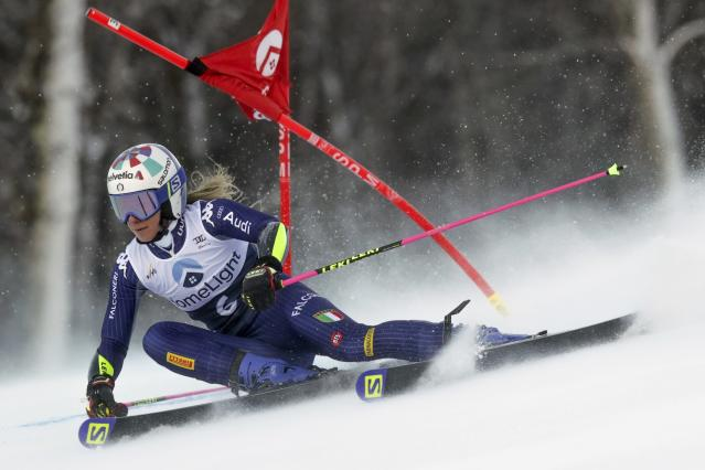 Italy's Marta Bassino competes during an alpine ski, women's World Cup giant slalom in Killington, Vt., Saturday, Nov. 30, 2019. (AP Photo/Charles Krupa)