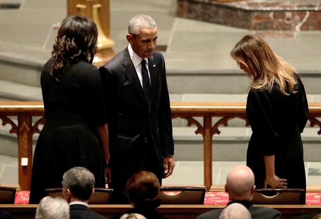 <p>Former President Barack Obama and former first lady Michelle Obama greet first lady Melania Trump at St. Martin's Episcopal Church for funeral services for former first lady Barbara Bush in Houston, Texas, April 21, 2018. (Photo: David J. Phillip/Pool via Reuters) </p>