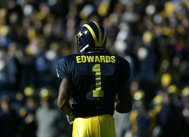 Braylon Edwards caught 252 passes at Michigan before playing in the NFL for 10 seasons. (Getty Images)