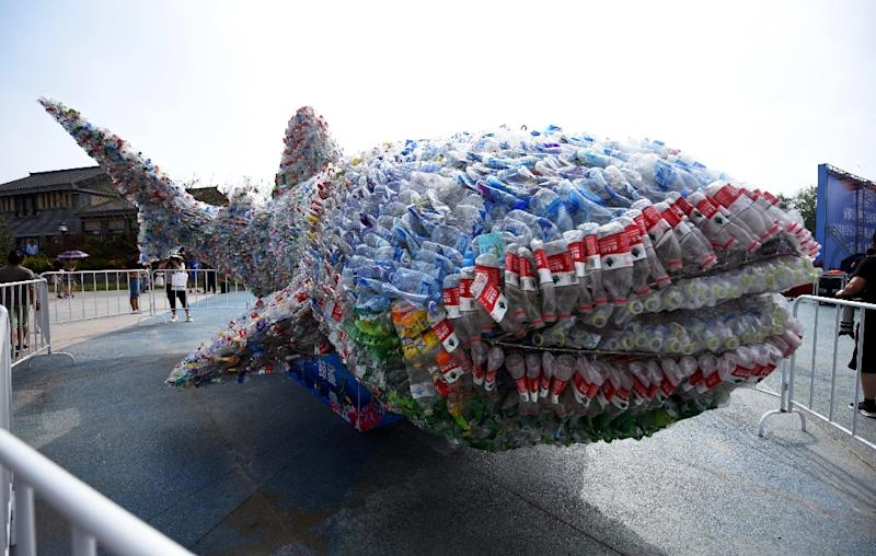 Social media stories of plastic pollution have increased awareness, and prompted action such as an installation depicting a shark made of plastic bottles in China