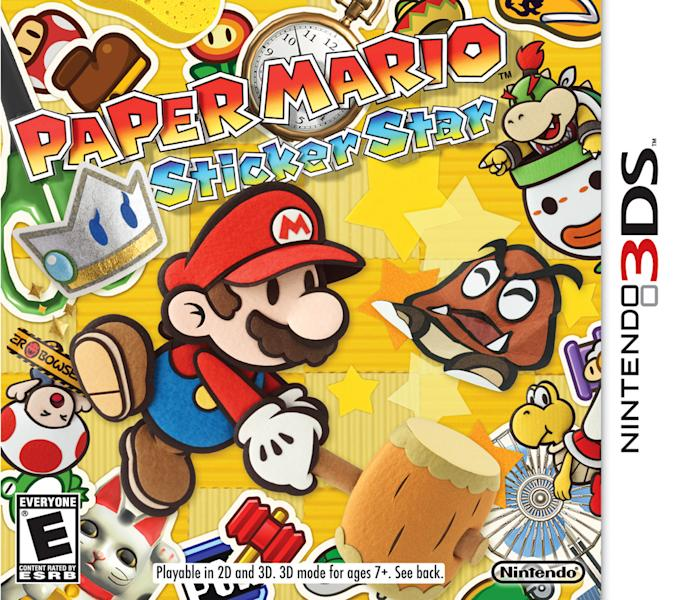"This undated publicity photo provided by Nintendo of America, Inc. shows the box cover for ""Paper Mario: Sticker Star,"" a game for Nintendo's handheld 3DS gaming system. In the game, Mario must search a foldable, papercraft-like Mushroom Kingdom in search of stickers that were scattered by his arch-enemy Bowser, during the kingdom's comet-watching party. The game is rated ""E"" for everyone. (AP Photo/Nintendo of America, Inc.)"