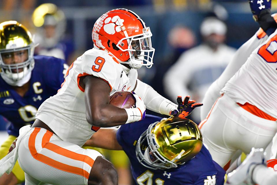 Clemson's Travis Etienne was held in check against Notre Dame. (Photo by Matt Cashore-Pool/Getty Images)