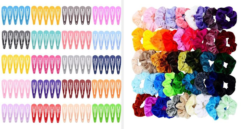 """Scrunchies aren't just for putting up your hair. Some people just pop one on their wrist as a bracelet.<br /><br />""""They might be a little outdated, but they add a cute touch to any basic outfit! I don't even tie my hair, I just wear a scrunchie on my wrist for the look."""" —goawfkween<br /><br /><strong><a href=""""https://www.amazon.com/PIDOUDOU-Solid-Candy-Color-Barrettes/dp/B06Y3Z7RFN?&linkCode=ll1&tag=huffpost-bfsyndication-20&linkId=0040d1fb7a8393b3c9b2e0bdbf807cfa&language=en_US&ref_=as_li_ss_tl"""" target=""""_blank"""" rel=""""noopener noreferrer"""">Get a pack of 100 barrettes from Amazon for $6.99.</a></strong><br /><br /><strong><a href=""""https://www.amazon.com/Chloven-Scrunchies-Elastics-Scrunchie-Accessories/dp/B07KC2TH9Z?&linkCode=ll1&tag=huffpost-bfsyndication-20&linkId=b4d65a69ff66a055aee74e4e12318a83&language=en_US&ref_=as_li_ss_tl"""" target=""""_blank"""" rel=""""noopener noreferrer"""">Get a pack of 45 scrunchies from Amazon for $8.99.</a></strong>"""