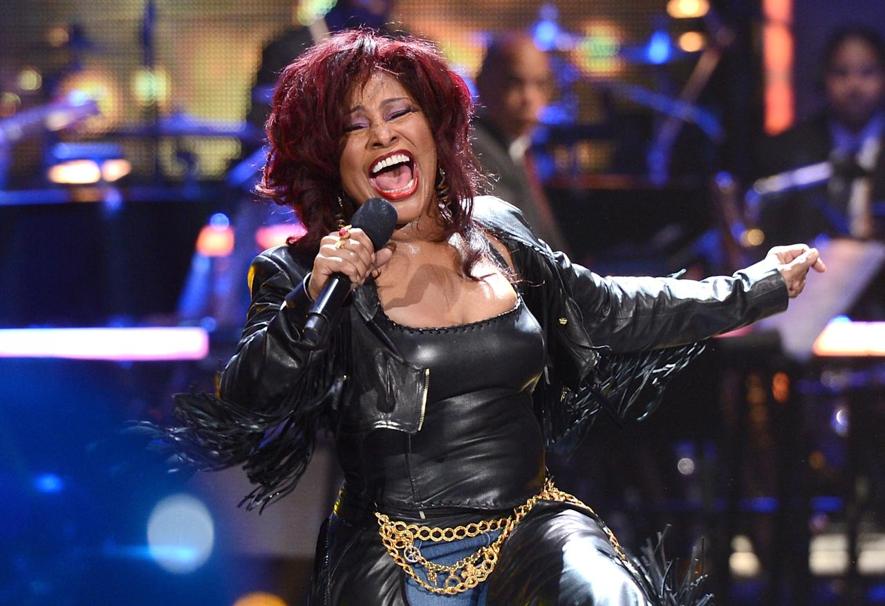 PASADENA, CA - DECEMBER 01:  Singer Chaka Khan performs onstage during UNCF's 33rd annual An Evening with the Stars held at Pasadena Civic Auditorium on December 1, 2012 in Pasadena, California.  (Photo by Mark Davis/Getty Images for BET)