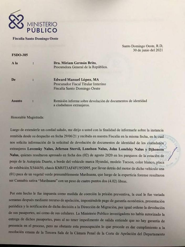 After an inquiry by the Miami Herald and McClatchy Washington Bureau about the Nalus brothers' arrest, the attorney general for the Dominican Republic finally asked about the case. This is the response of the prosecutor's office.