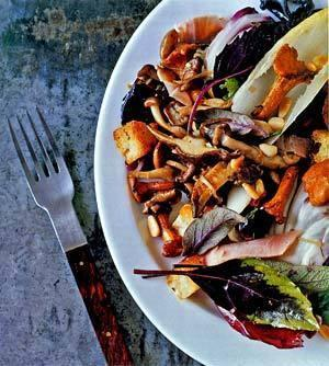 The wild mushroom salad, which Waxman created at Michael's in Santa Monica, mixes flavors, textures and colors.