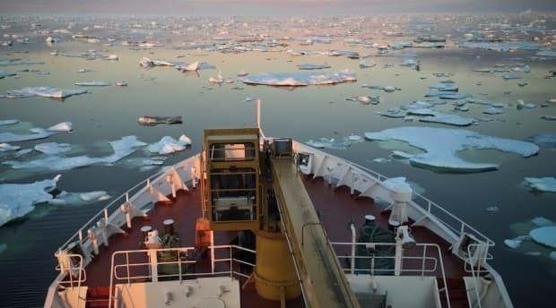 This is the bow of the Northern Ranger as seen from the bridge. The boat transports both passengers and cargo to Labrador's coastal communities, which can include everything from snow-machines and soda pop to building supplies and generators.