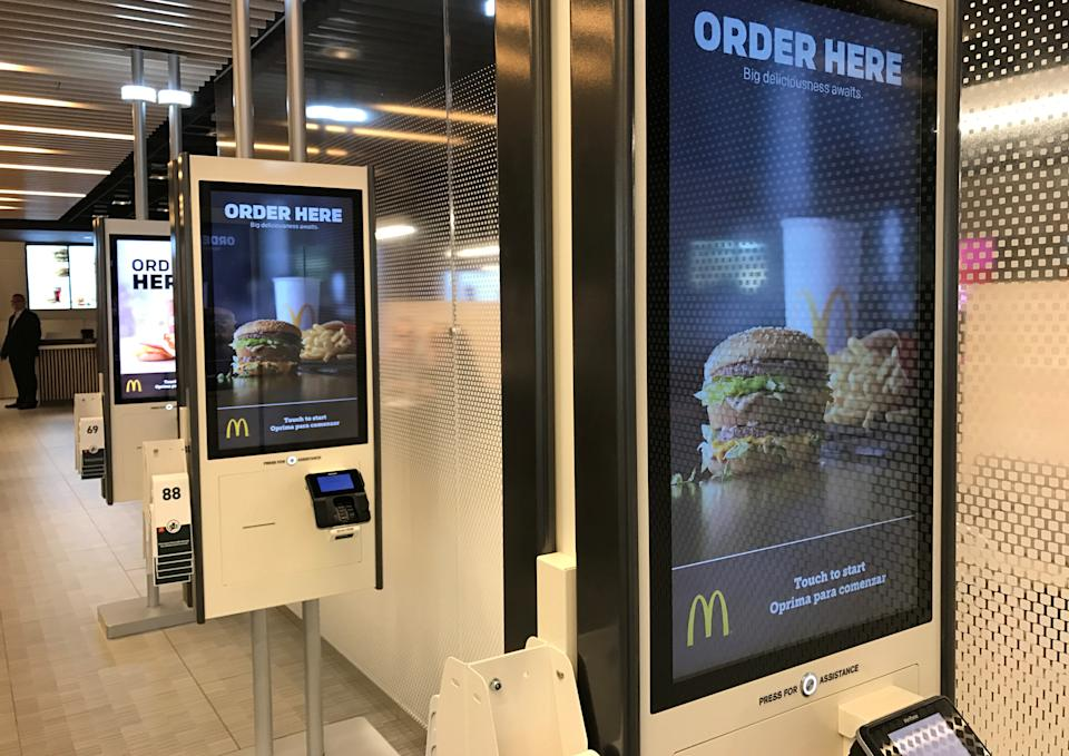 McDonald's self-service kiosks are seen in a prototype restaurant housed in a warehouse in Chicago's West Loop area, in Chicago, Illinois, U.S., March 1, 2017.  Photo taken March 1, 2017.  REUTERS/Lisa Baertlein