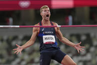 <p>Kevin Mayer, of France celebrates making a clearance in the decathlon high jump at the 2020 Summer Olympics, Wednesday, Aug. 4, 2021, in Tokyo. (AP Photo/Francisco Seco)</p>