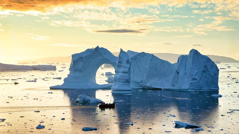 Icebergs in midnight sun, Disko Bay, Greenland.These icebergs have already spent two years travelling from the mighty Sermeq Kujalleq Glacier down the Ilulissat Icefjord before entering Disko Bay and starting their Atlantic journeys.